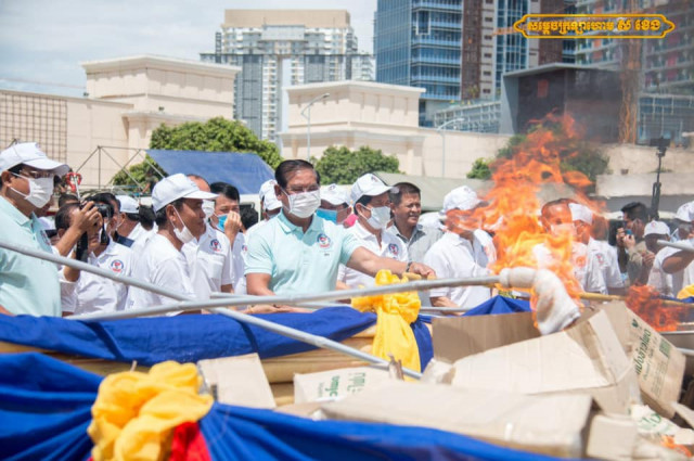 Cambodia burns 2.36 tons of drugs, illegal substances on anti-drug day