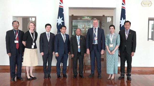 Heng Samrin meets Australian parliamentary speaker