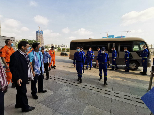 China's Blue Sky Rescue Team to Disinfect Public Places Across Cambodia