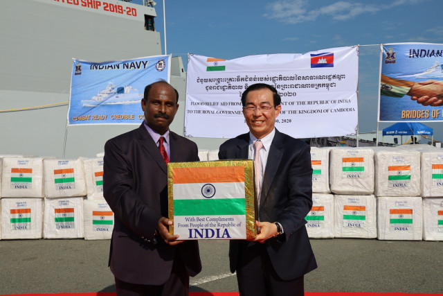 An Indian Naval Ship Delivers 15 Tons of Flood Relief Material during its Visit