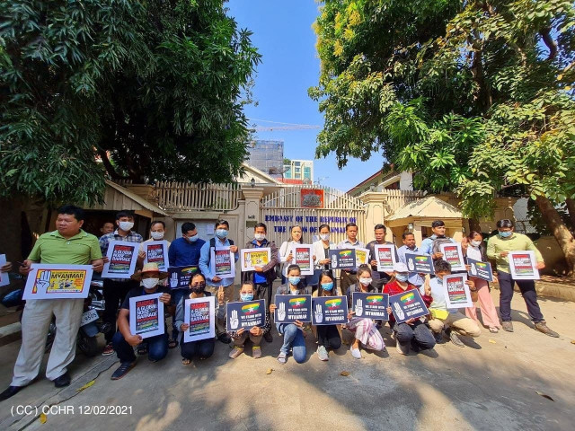 Cambodia's NGOs, Associations and Labor Unions Show their Support for Myanmar People