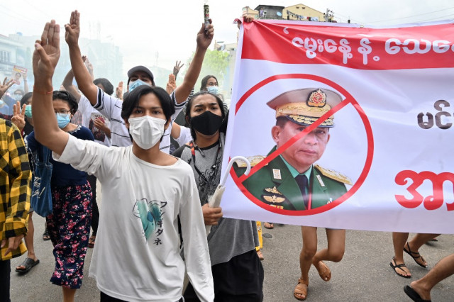 Protesters mark Myanmar coup leader's birthday with mock funerals