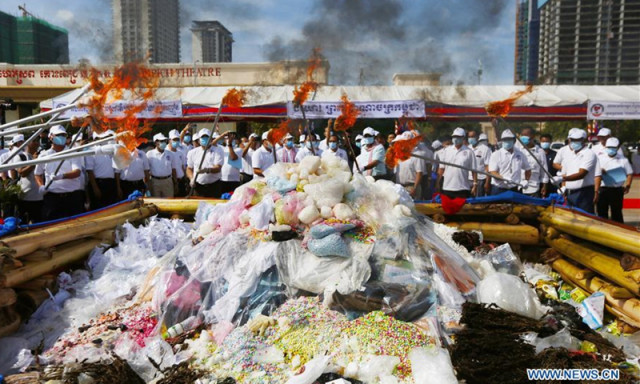 Cambodia destroys 7.62 tons of drugs, illegal substances to mark anti-drug day