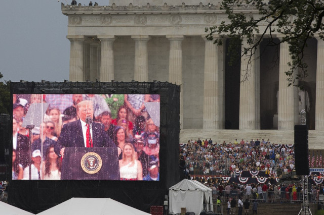 Trump celebrates US might, avoids politics in rousing July 4 speech