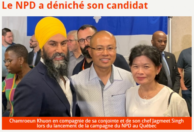 A Cambodian from the Province of Quebec Runs in the Election of his Adopted Country: Canada
