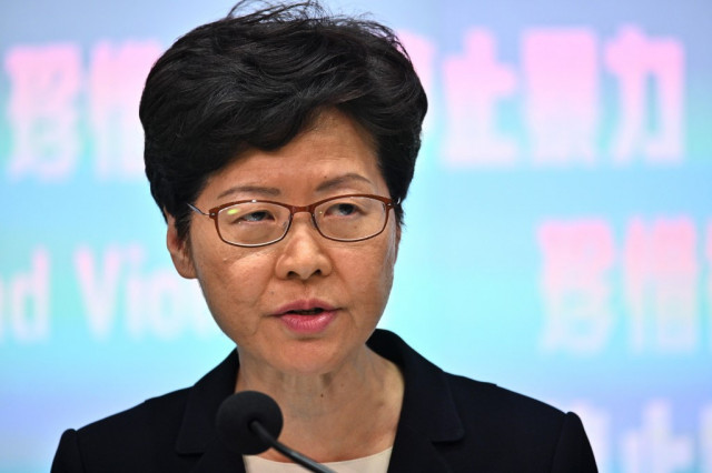 Hong Kong leader announces ban on protester face masks