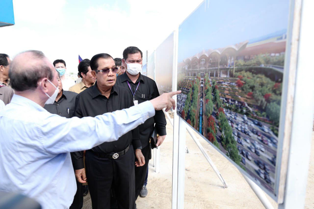 Hun Sen Inspects the Construction Site of Phnom Penh's Future Airport