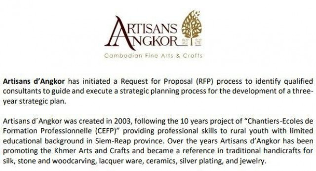 Request for Proposal: Artisans d'Angkor seeks consultants for 3-year strategic plan development