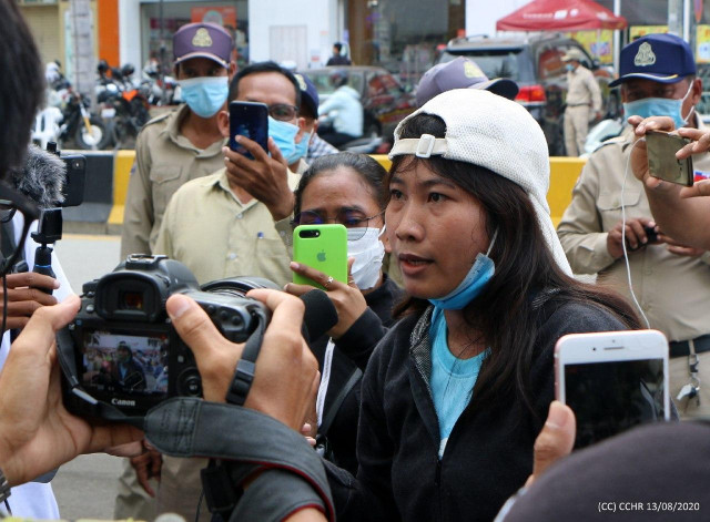 A Woman Arrested for Taking Part in a Protest for the Release of Rong Chhun Is Charged in Court