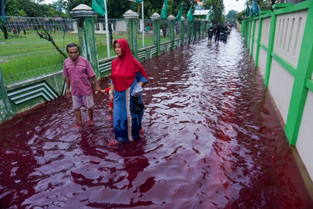 Batik dye causes blood-red flood in Indonesia